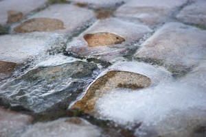 cobble stones covered in ice