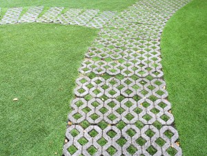 Stone block walk path in the garden with green grass